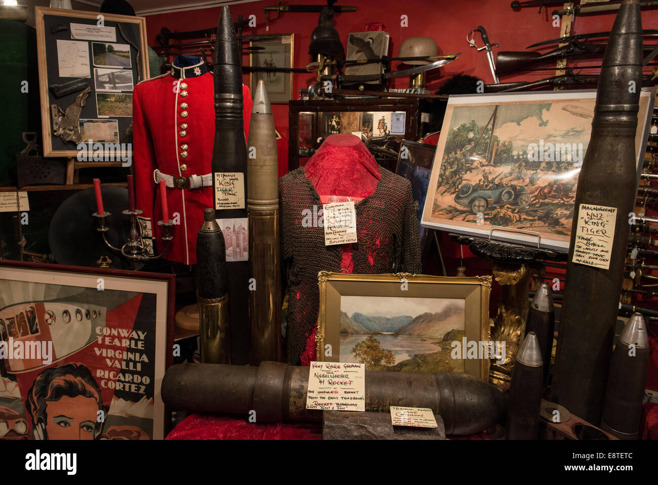 Interior of The Lanes Armory shop in Brighton selling militaria historical ephemera & interesting items from - Stock Image