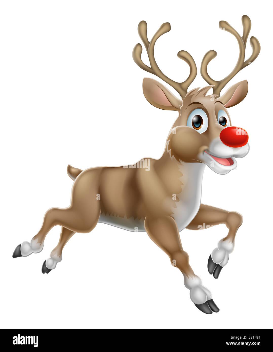 One of Santas Cute Christmas Cartoon Reindeer - Stock Image