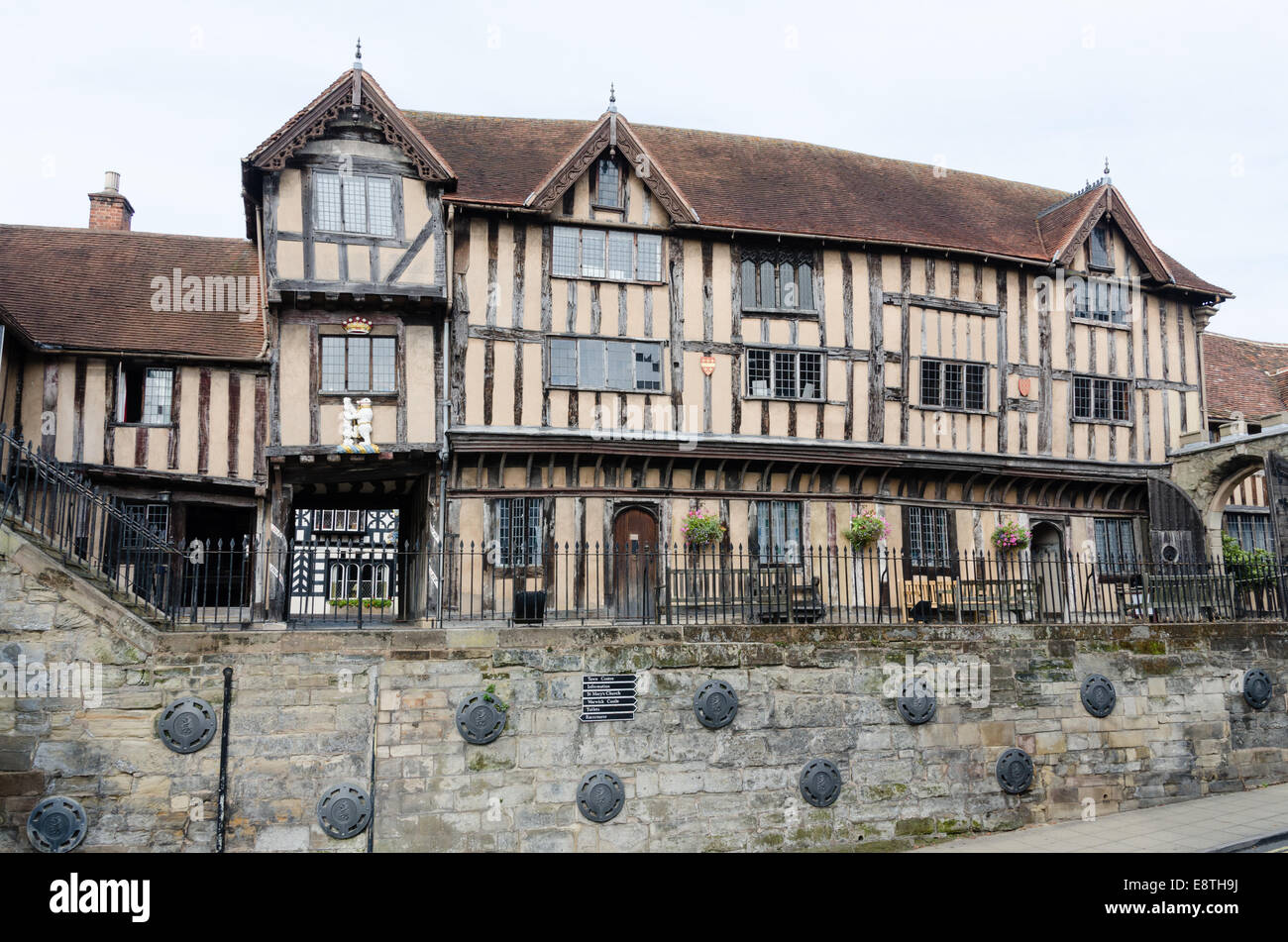 Lord Leycester Hospital a cluster of half-timbered buildings in Warwick which was a charitable institution - Stock Image
