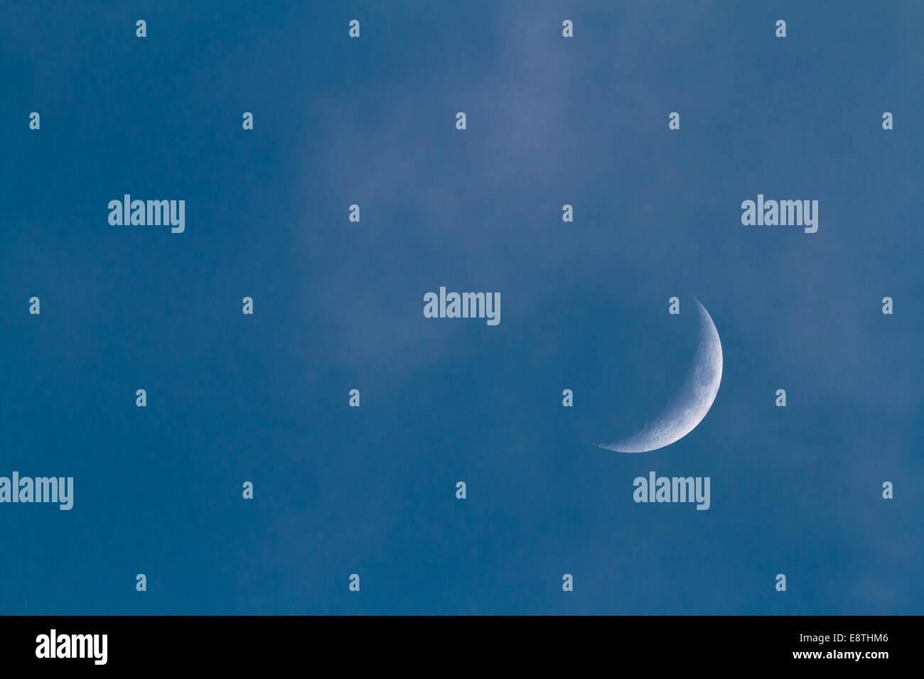 Cressent Moon , February, 2013, Cornwall, Uk - Stock Image