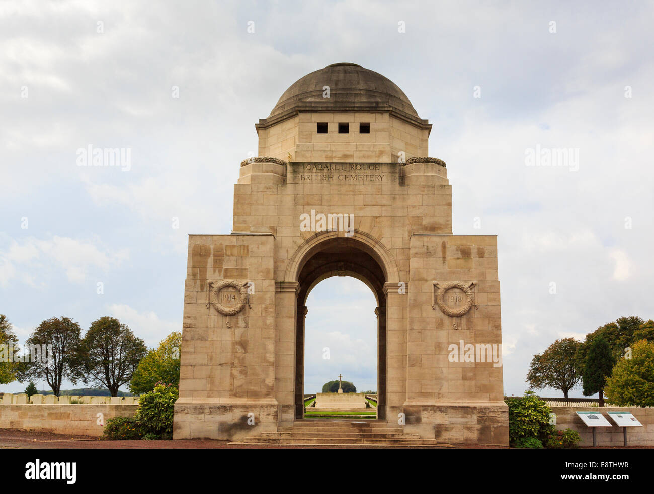 Entrance to Cabaret Rouge British cemetery for First World War Commonwealth graves. Souchez, Nord-Pas-de-Calais, - Stock Image
