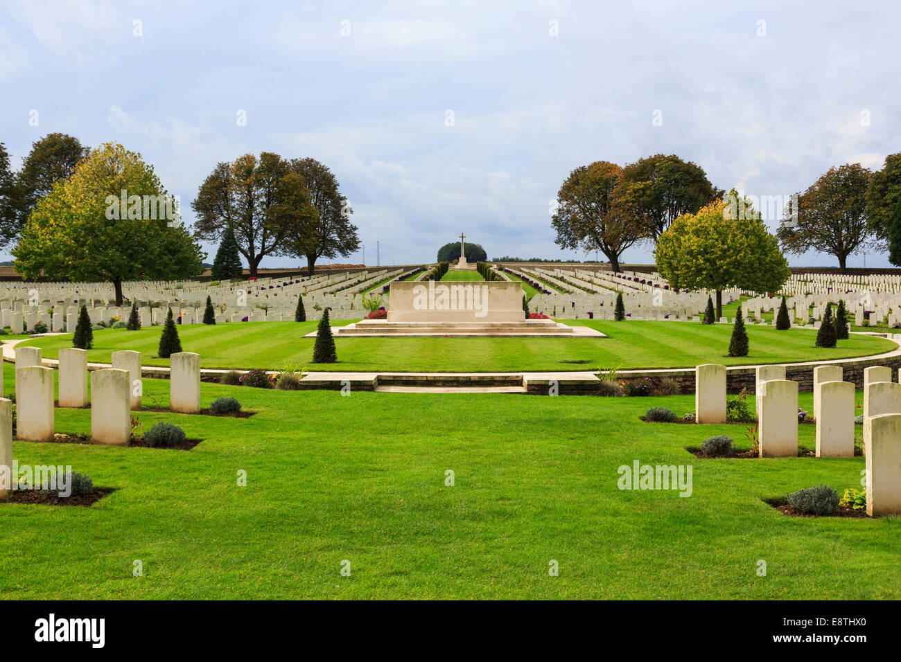 War grave headstones in Cabaret Rouge British cemetery for First World War Commonwealth soldiers. Souchez, France, Stock Photo
