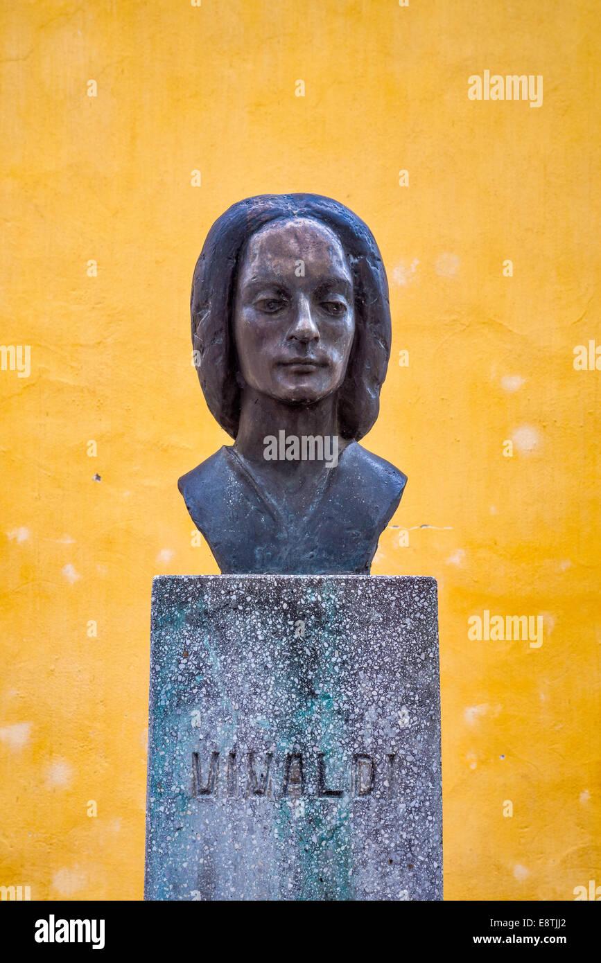 Bust of Antonio Vivaldi in Sarospatak, Northern Great Hungarian Plain region, Borsod-Abauj-Zemplen County, Hungary - Stock Image