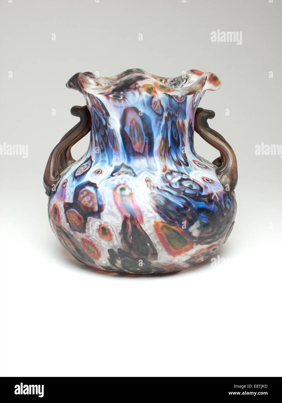 Fratelli murrine twin handled vase. c.1900. 10 cm high - Stock Image