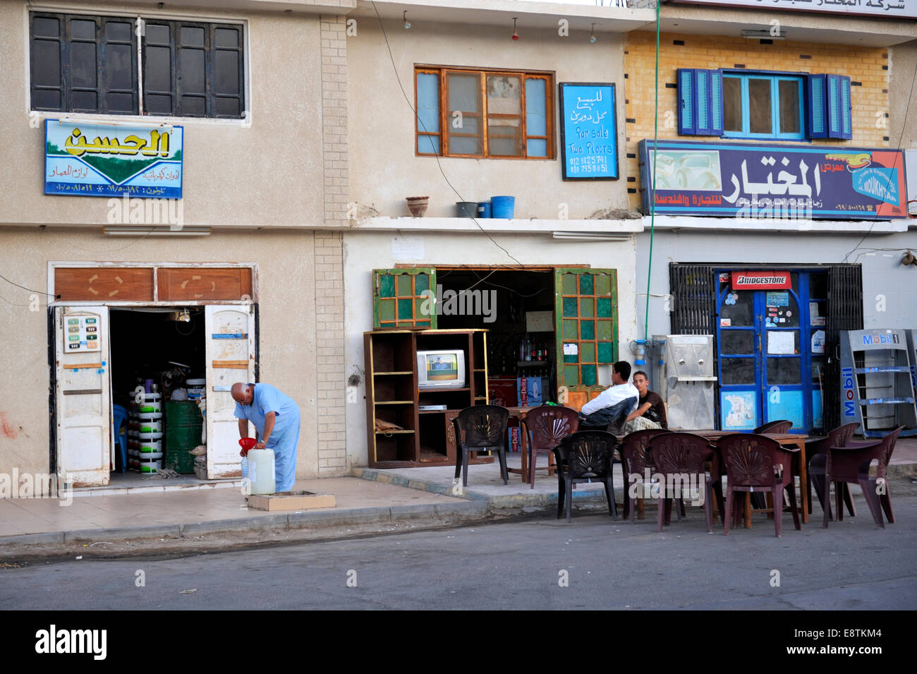 Small Egyptian cafe which is more likely to serve local people than tourists, town of Nuweiba - Stock Image