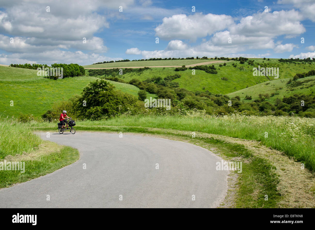 Cycling the Yorkshire wolds cycle route - Stock Image