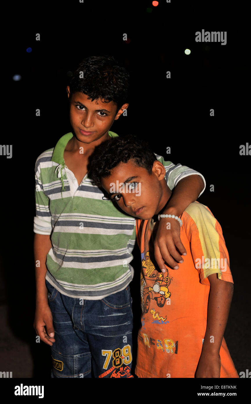 Two young Egyptian boys in village of Nuweiba South Sinai - Stock Image