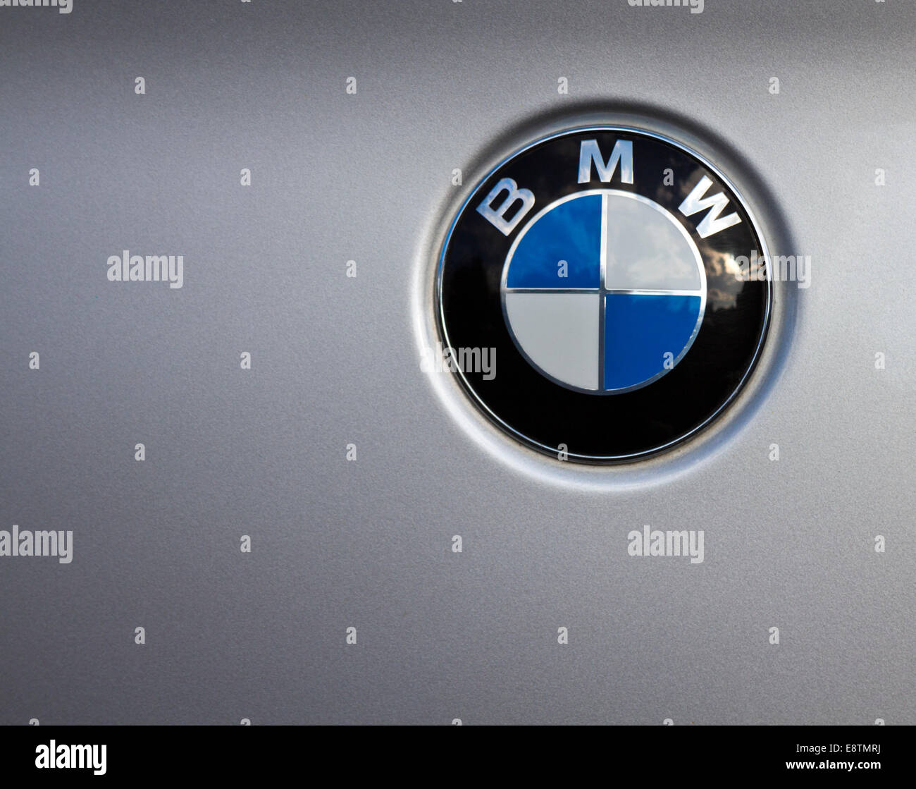 bmw badge with copy space on a silver car stock photo 74301910 alamy