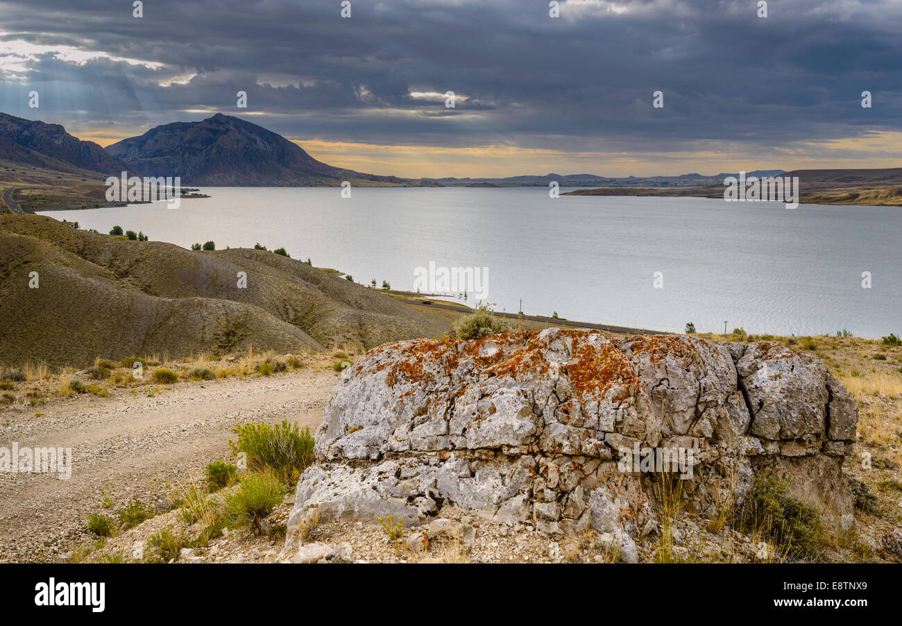 The rugged  landscape of Buffalo Bill State park showing the rocky mountains  and large reservoir near Cody, Wyoming, - Stock Image