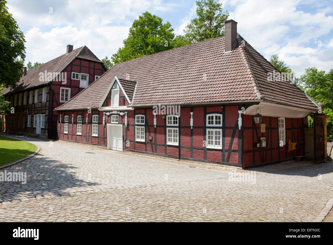 Castle gardens, castle Rheda, Gesindehaus, part of the former servants' quarters, Rheda-Wiedenbrück, Germany, - Stock Image