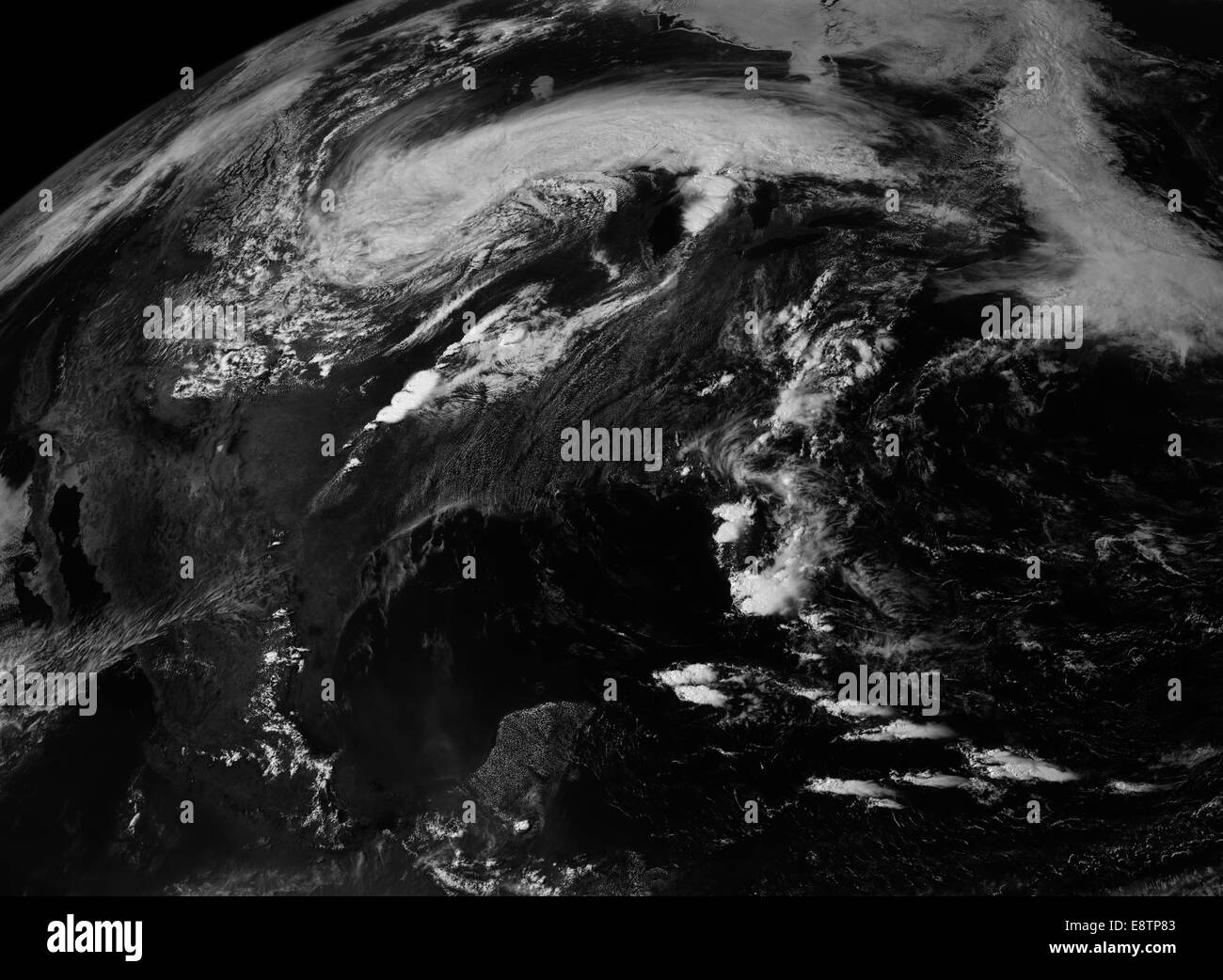NOAA's GOES-East (Geostationary Operational Environmental Satellite) collected this view of the storm system that - Stock Image