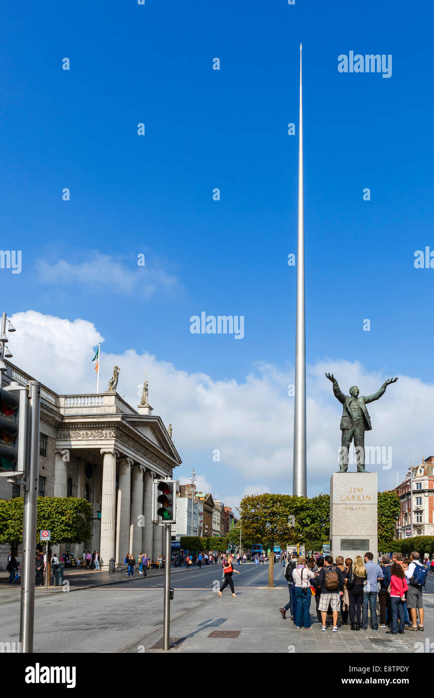 The Spire of Dublin, statue of Jim Larkin and the General Post Office, O'Connell Street, Dublin City, Republic - Stock Image