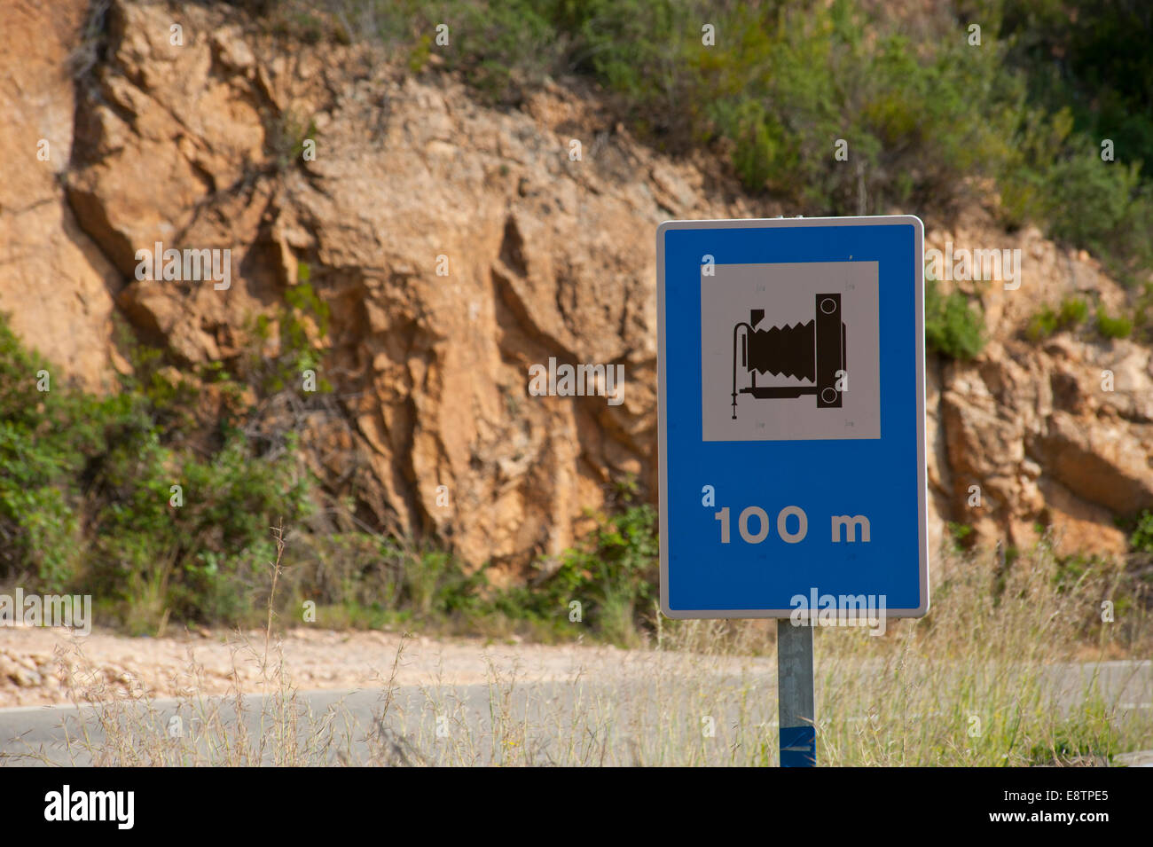 Spain Catalonia. Tourist road signs indicating a good place to take photographs from on the cliff top Costa Brava - Stock Image