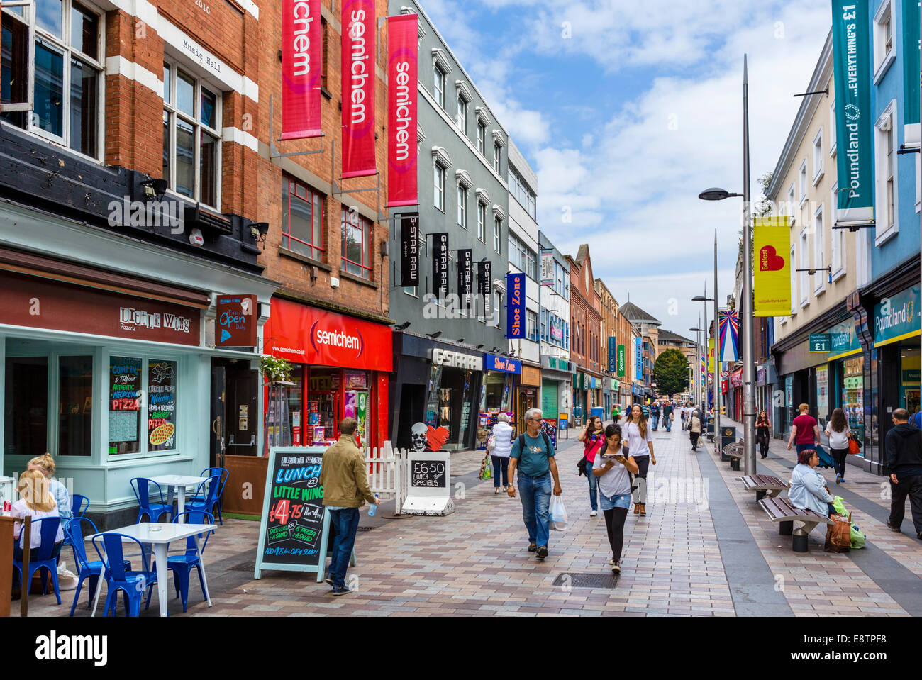 Shops and cafes on Ann Street in the city centre, Belfast, Northern Ireland, UK - Stock Image
