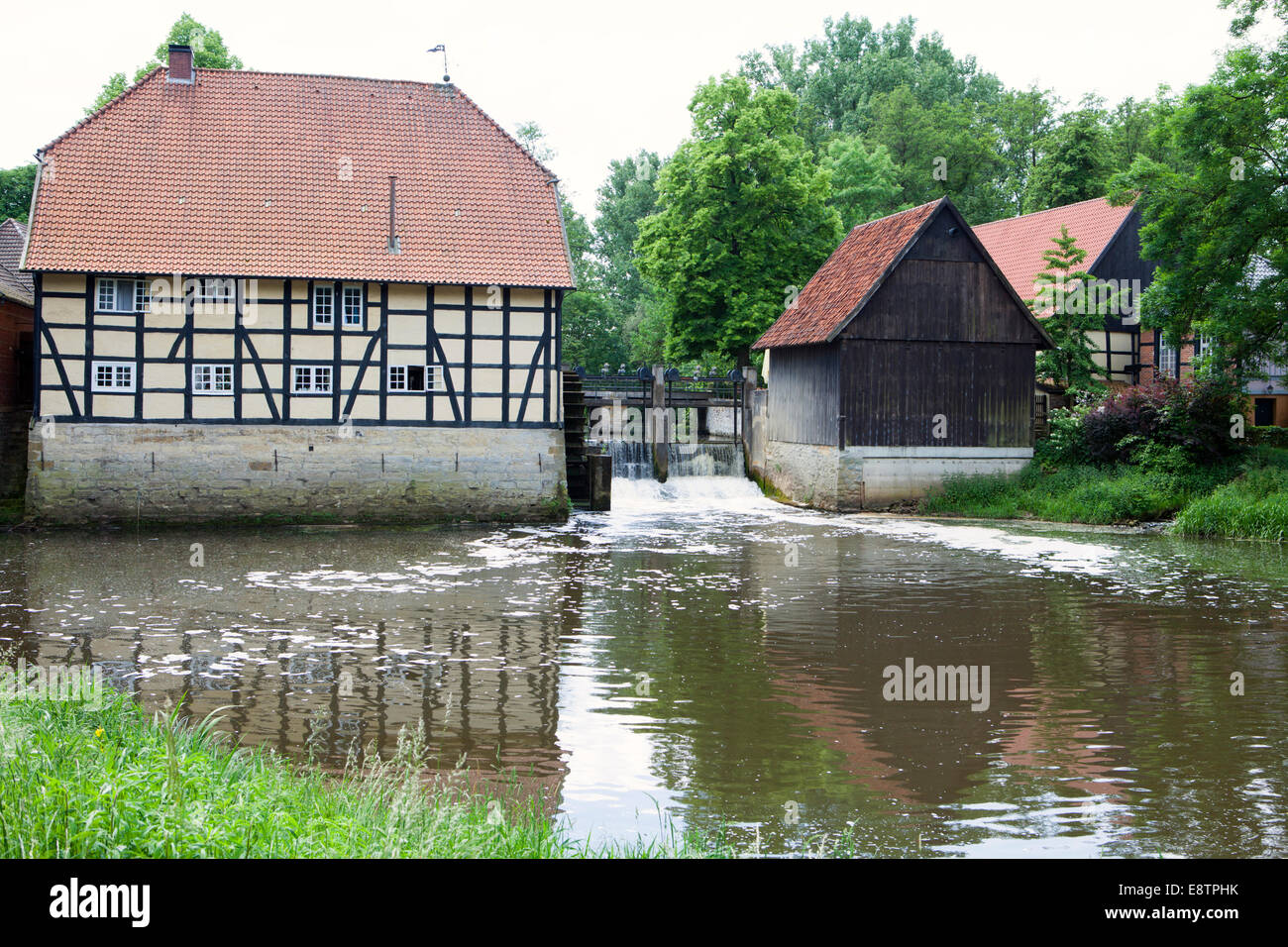 Water mill, river Ems, Rheda Castle, Rheda-Wiedenbrueck, Muensterland region, North Rhine-Westphalia, Germany, Europe, - Stock Image