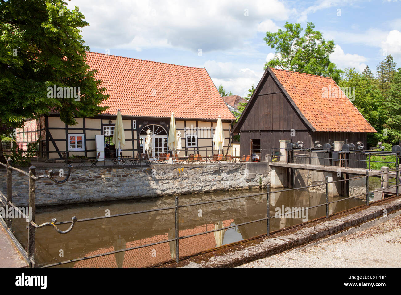 Water mill, river Ems, Rheda Castle, Rheda-Wiedenbrueck, Muensterland region, North Rhine-Westphalia, Germany, Europe - Stock Image