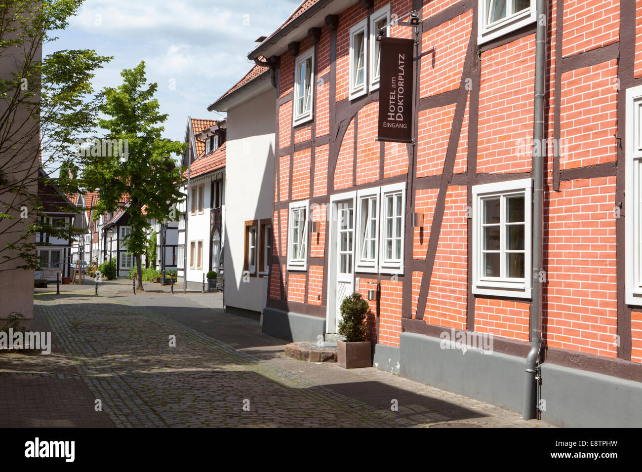 Half-timbered houses in the historic town, Rheda, Rheda-Wiedenbrueck, Germany, Europe - Stock Image