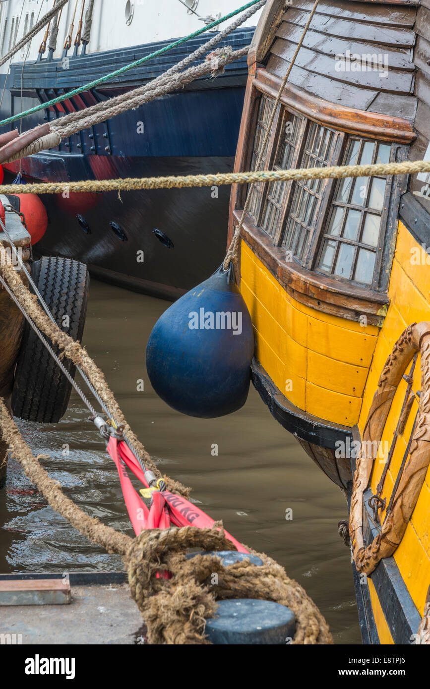 Blue ships buoy on a Tall Ship at a quayside mooring. - Stock Image