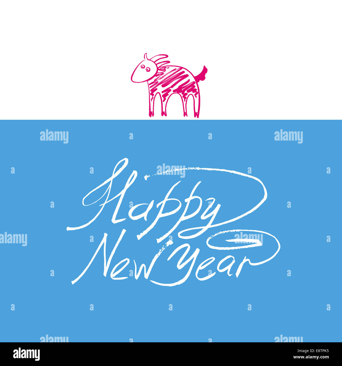 happy new year design card with goat or sheep chinese lunar sym