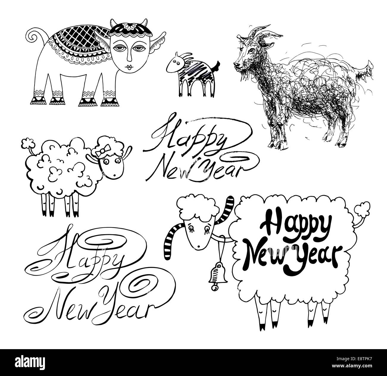 collection of happy new year design with goat or sheep chinese
