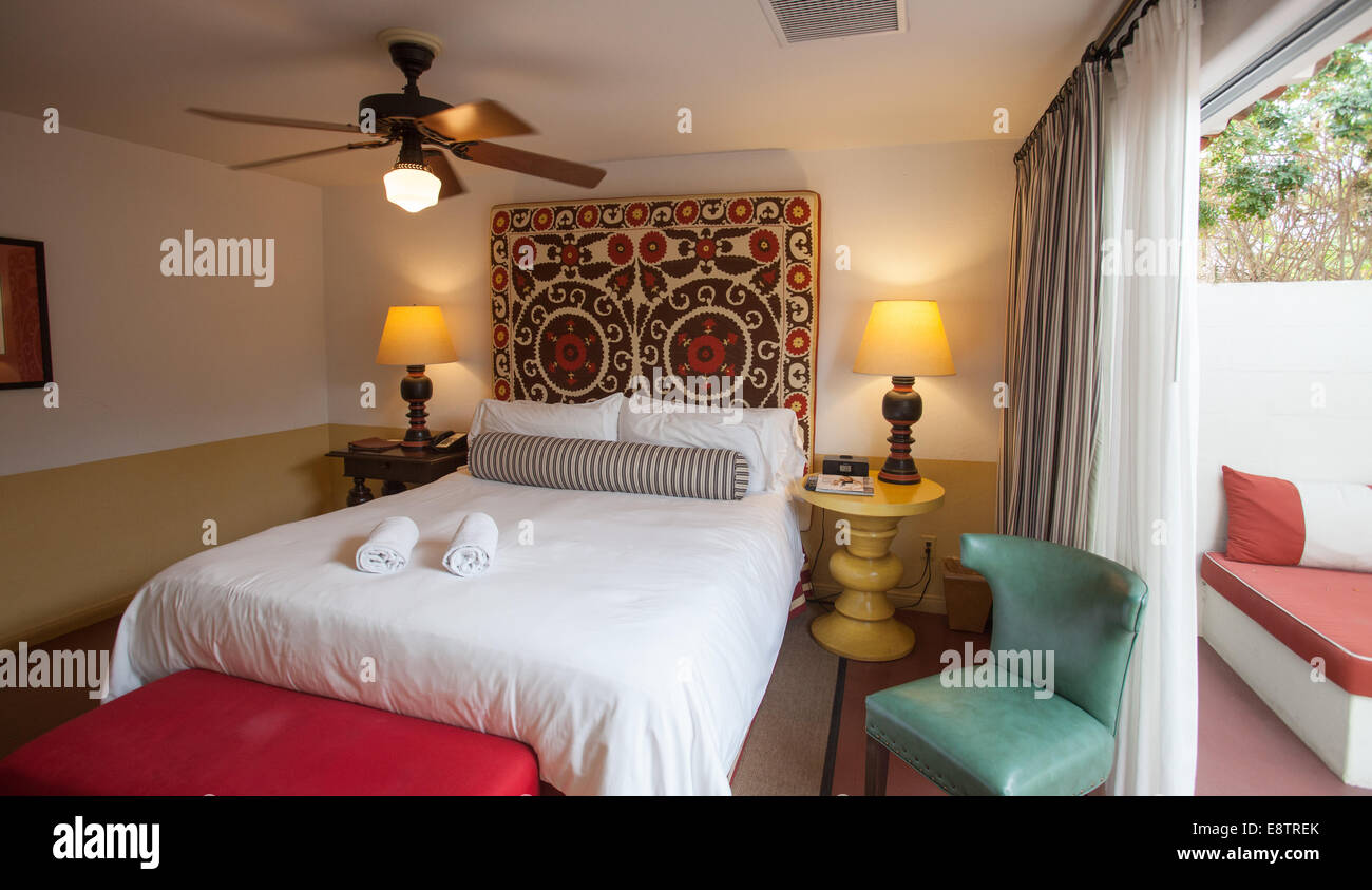 Interior view of a casita room at the Colony Palms Hotel in Palm Springs. - Stock Image