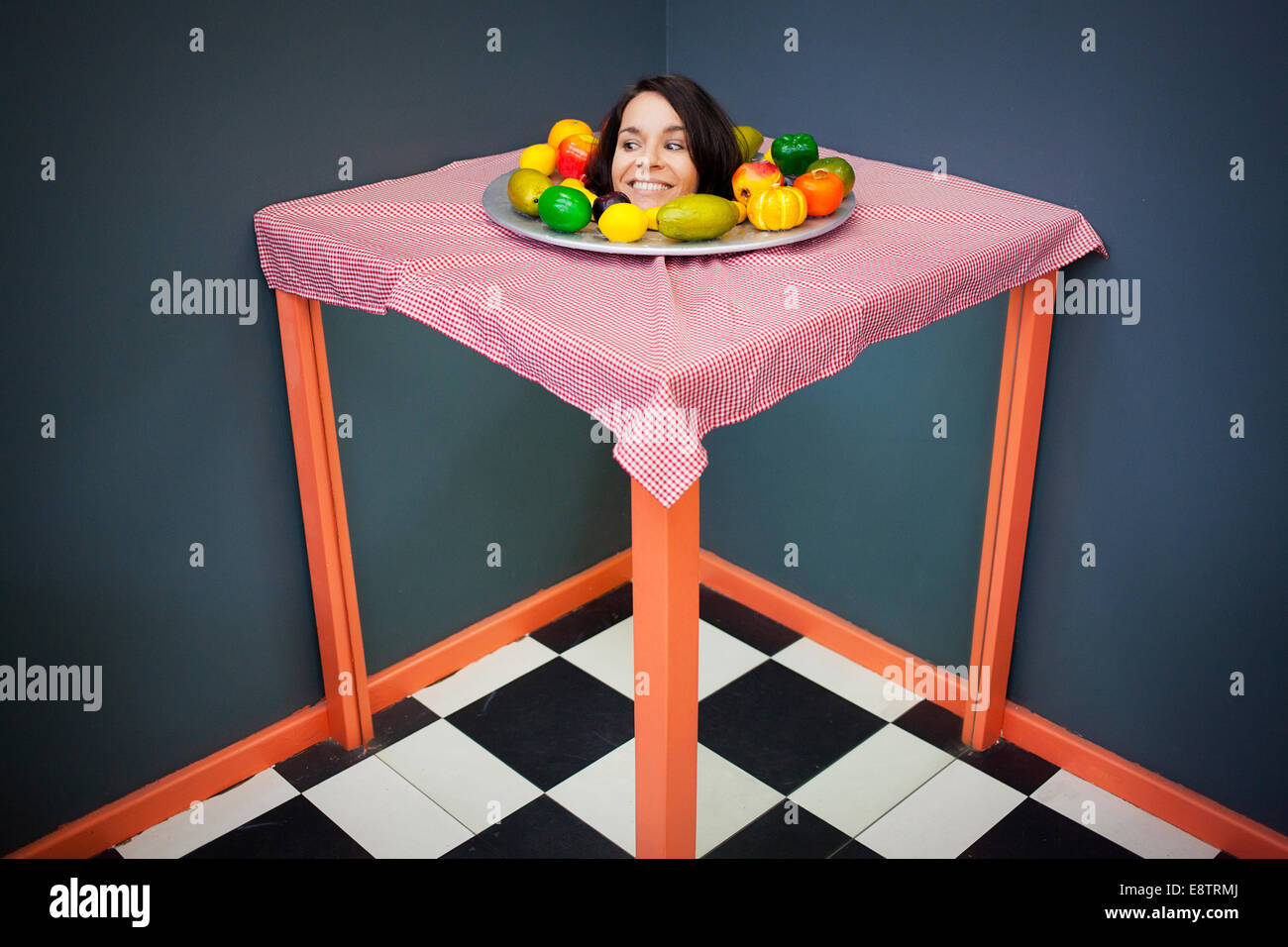 A Woman Is Part Of An Optical Illusion, Cape Town Science Centre   Stock  Image