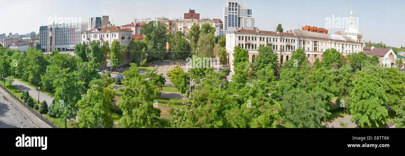Dnipropetrovsk downtown cityscape panorama, Ukraine - Stock Image