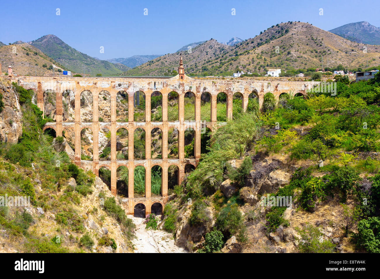 Old aqueduct in Nerja, Spain - Stock Image
