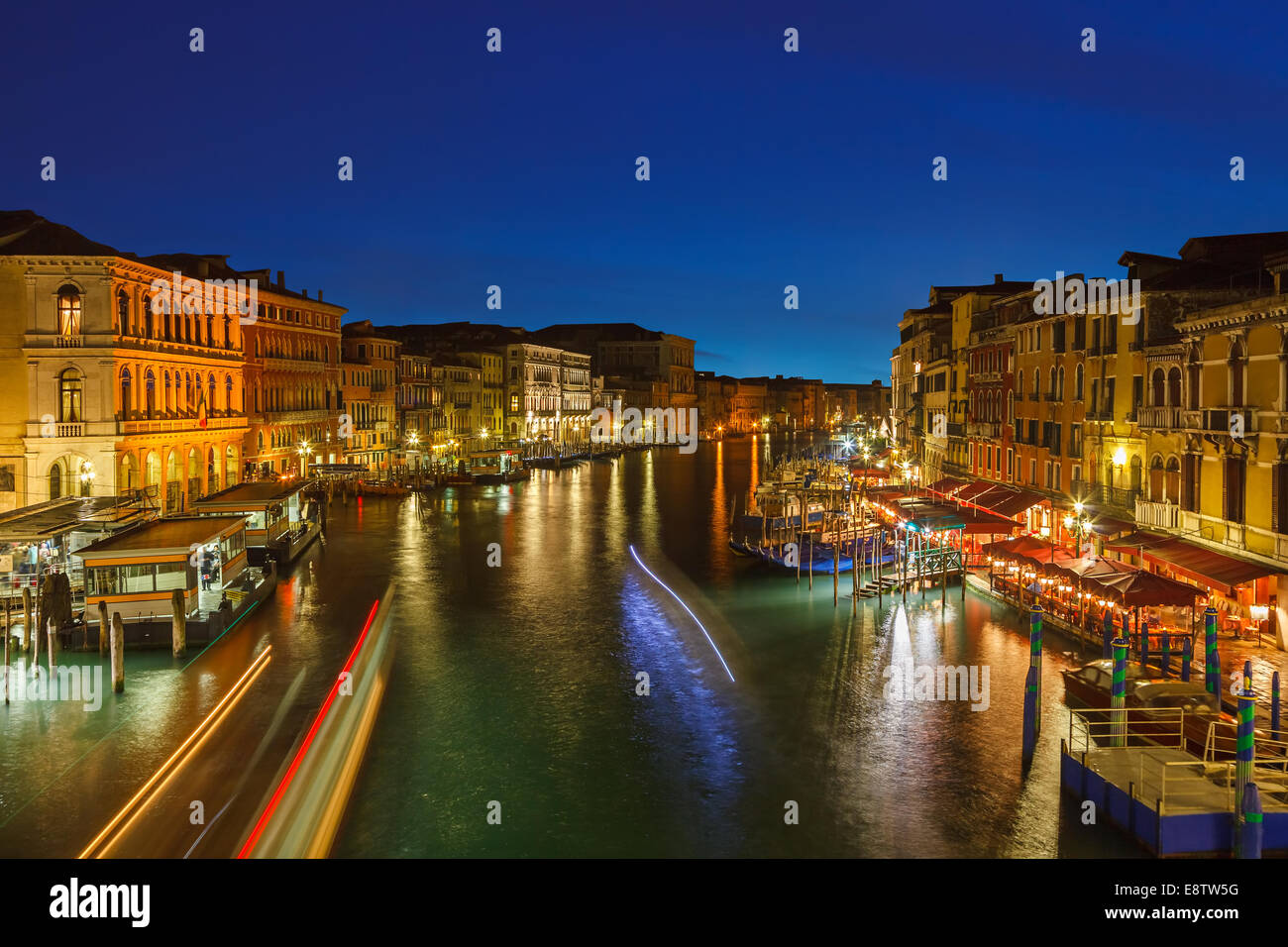 Grand Canal at night, Venice - Stock Image