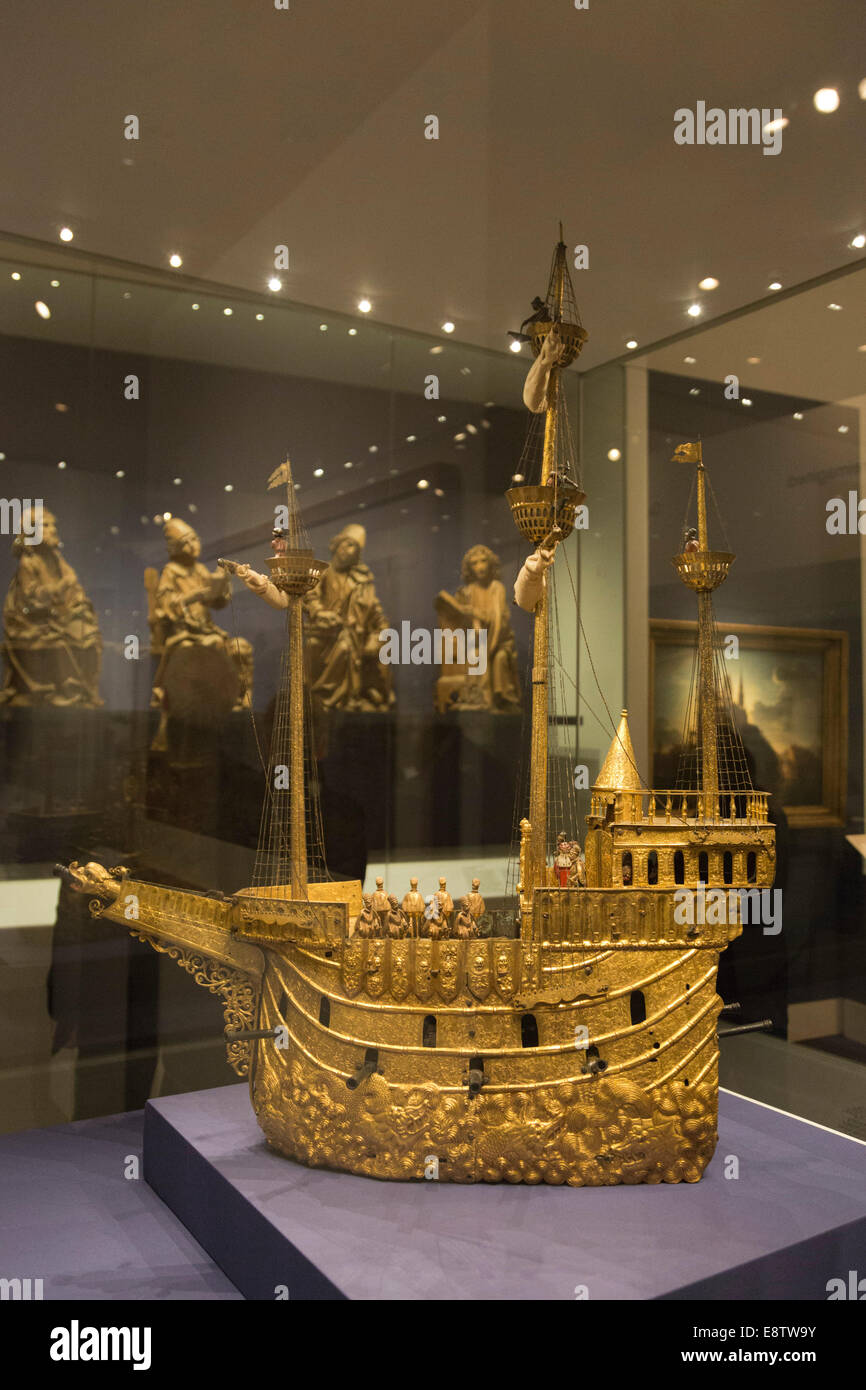 The exhibition 'Germany - Memories of a Nation' opens at the British Museum, London. Mechanical Galleon, - Stock Image