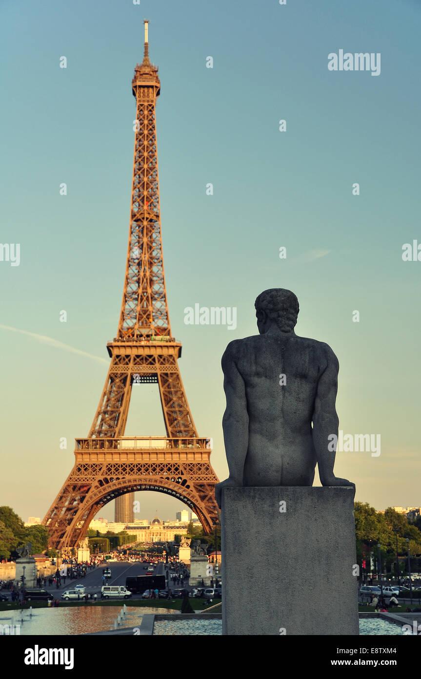 Looking at Eiffel Stock Photo