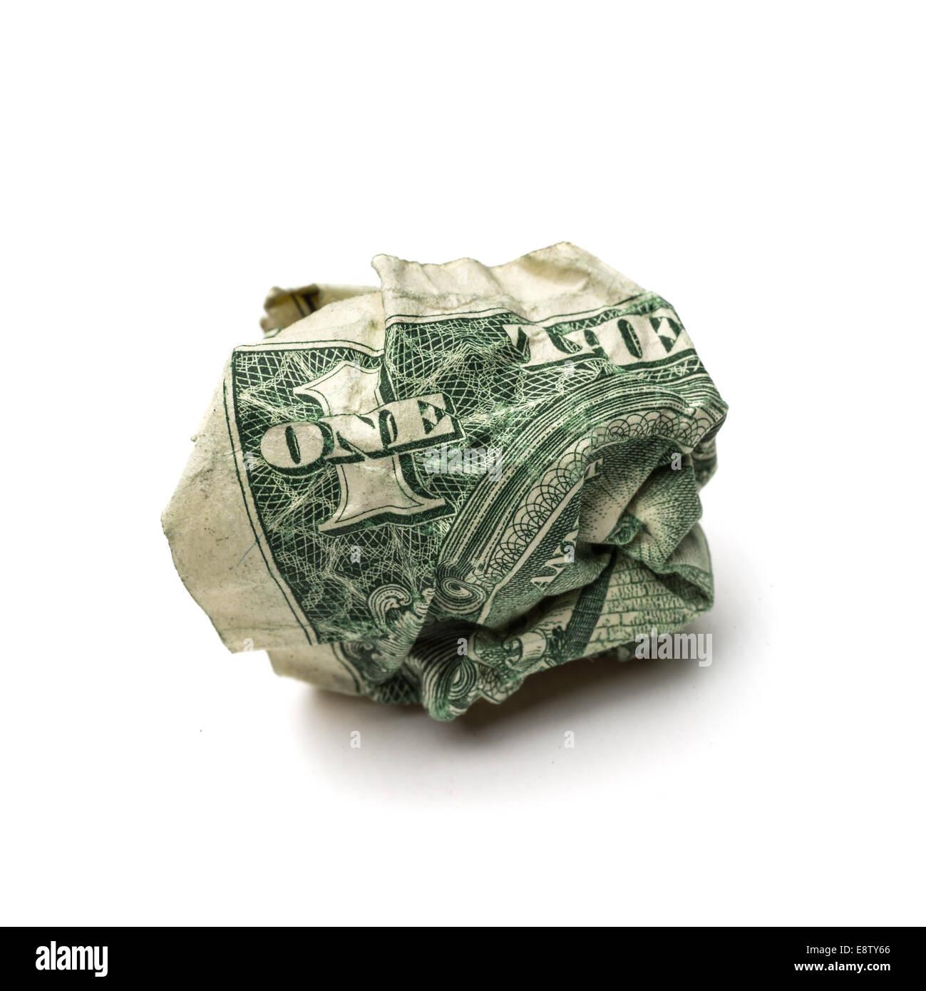 Crumpled dollar bills isolated on white background - Stock Image