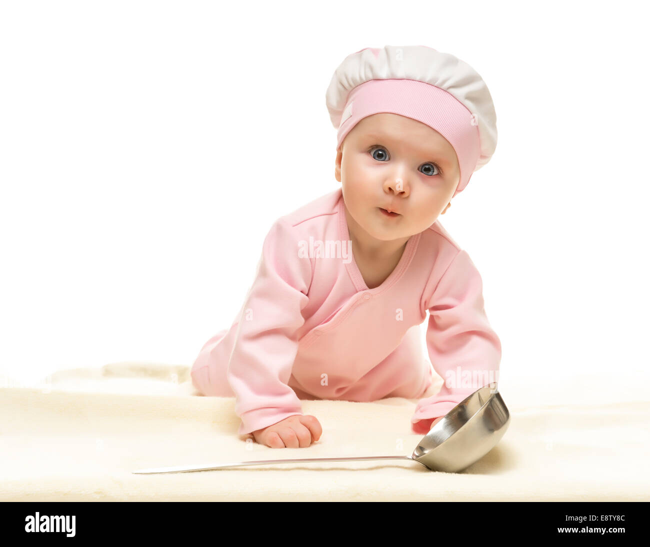 Little baby cook with metal ladle on white background Stock Photo ... 3ae6239022cf