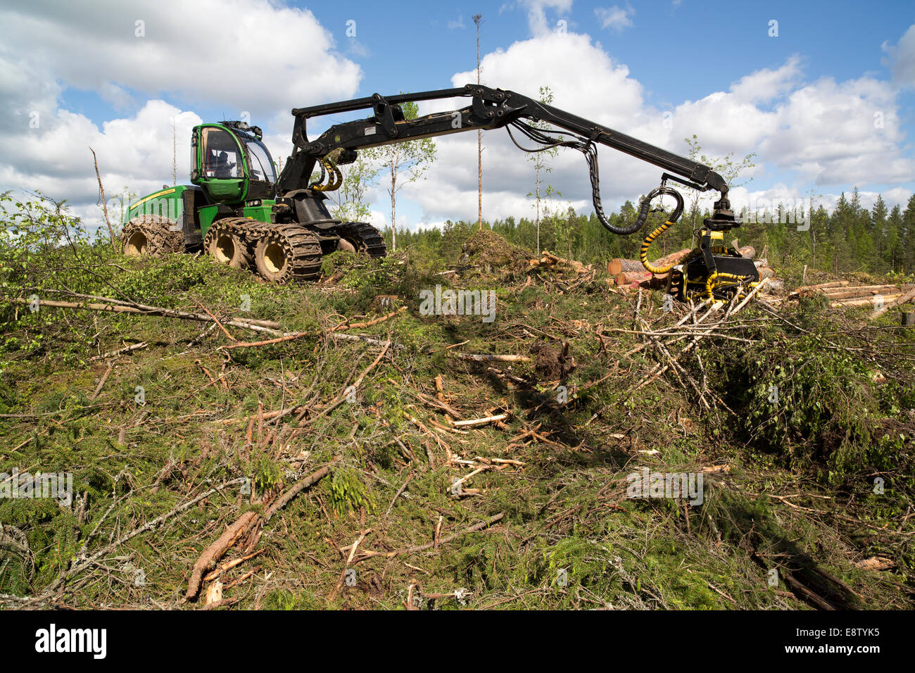 Green John Deere 1170E forest harvester at clear cutting area , Finland - Stock Image