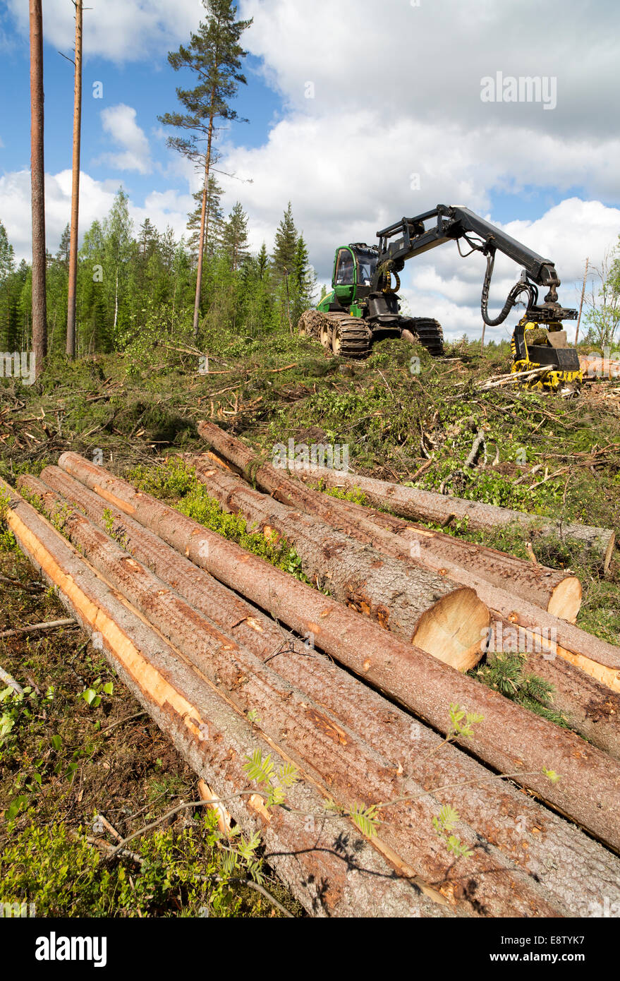 John Deere 1170E forest harvester and logs at clear cutting area , Finland - Stock Image