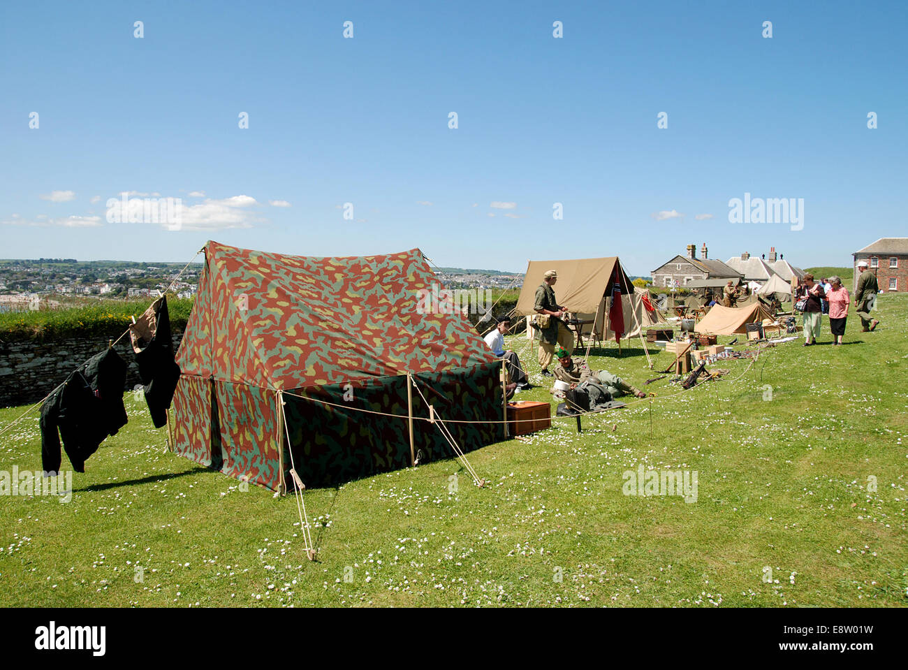 a military camp at a second world war reenactment - Stock Image
