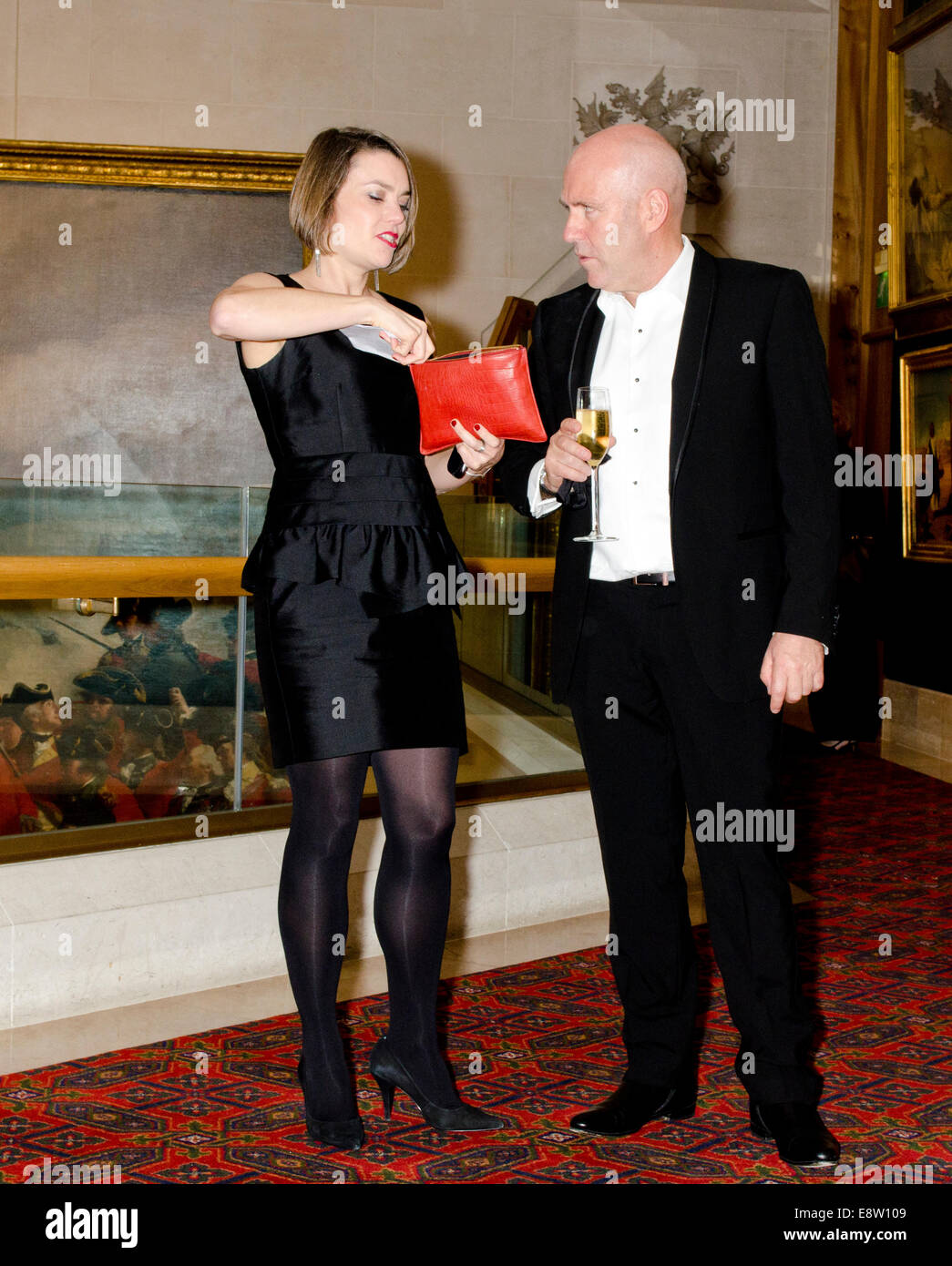 Man Booker Prize for Fiction 2014 winner Richard Flanagan for The Narrow Road to the Deep North with his publicist - Stock Image