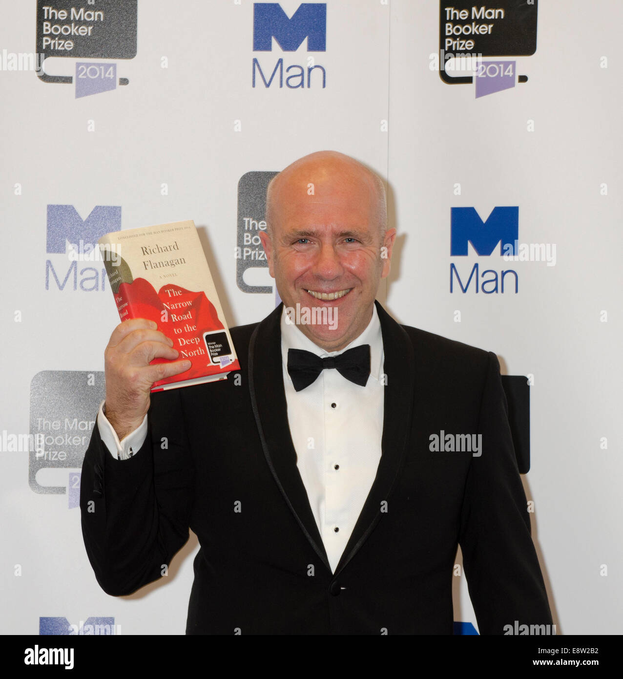 London, UK. 14th October, 2014. Man Booker Prize for Fiction 2014 winner Richard Flanagan for The Narrow Road to - Stock Image