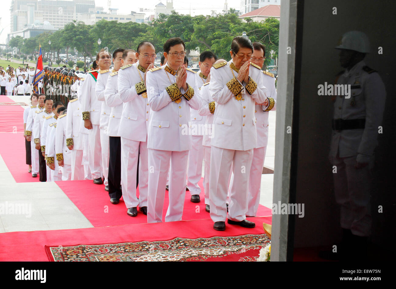 Phnom Penh, Cambodia. 15th Oct, 2014. Cambodian senior officials pay homage to late King Father Norodom Sihanouk - Stock Image