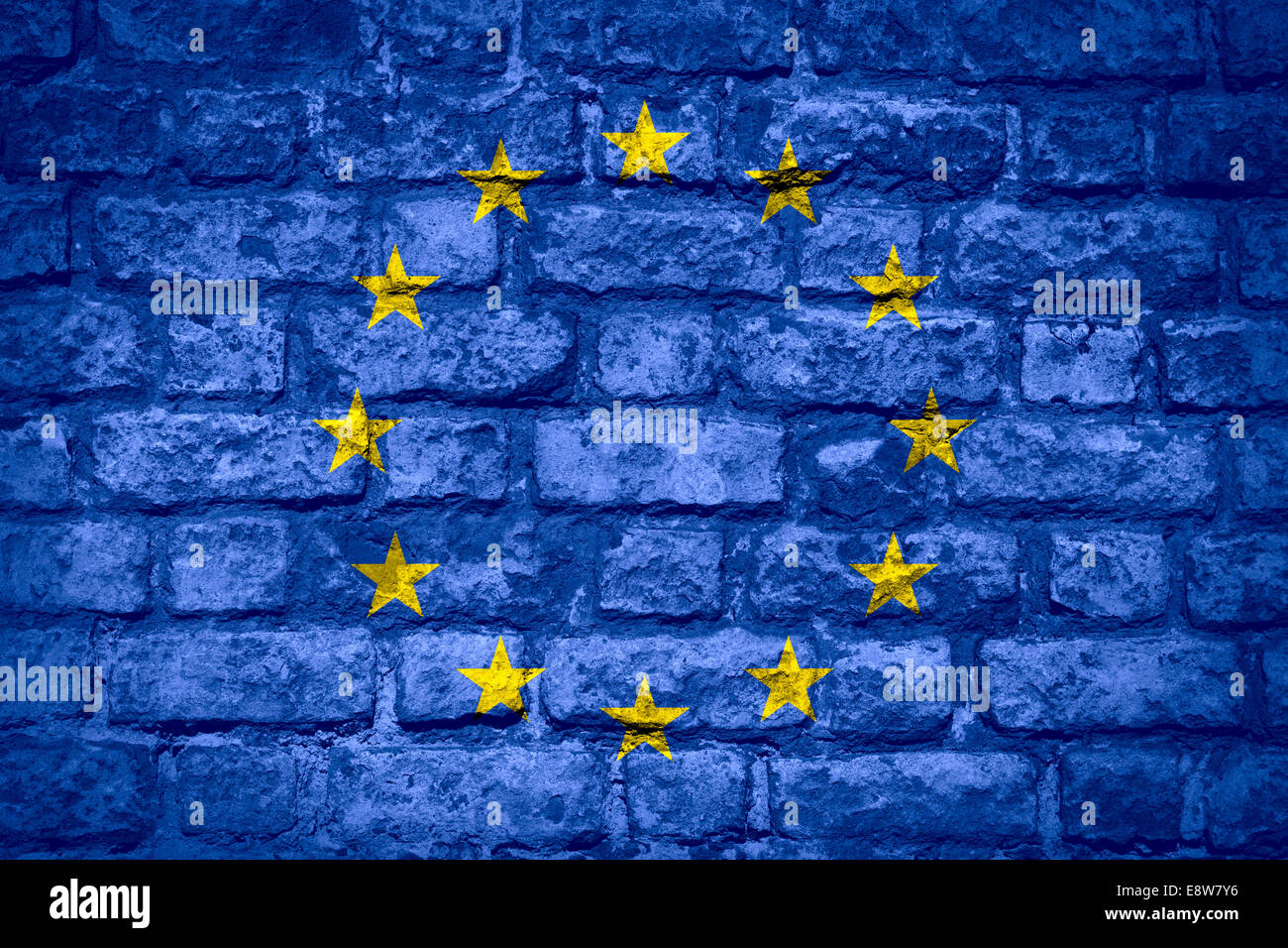 flag of European Union or banner on brick texture - Stock Image