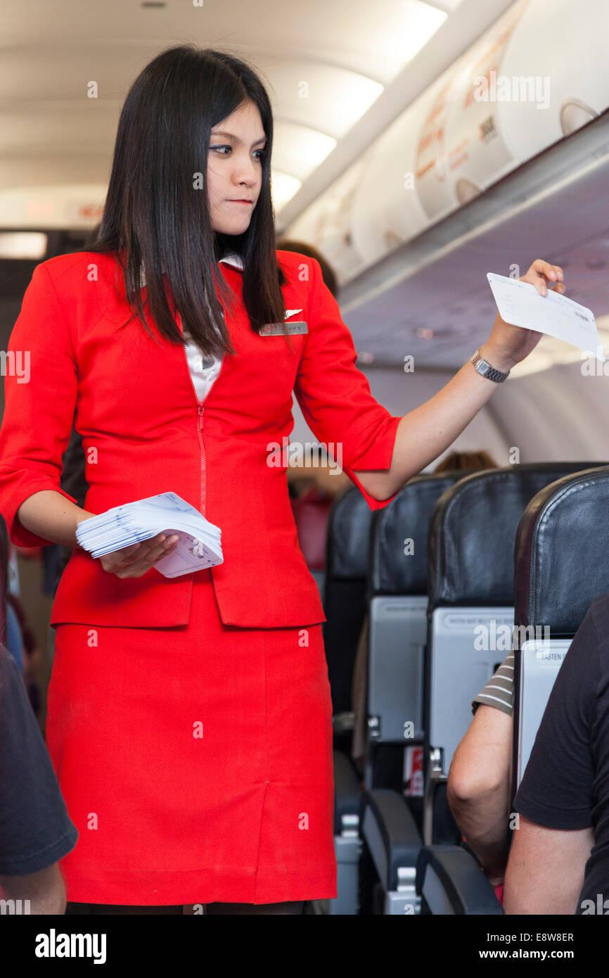 Air Asia Flight Attendant On A Flight From Phnom Penh
