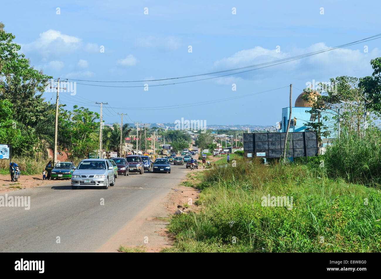 Road at the entrance of the city of Abeokuta, Nigeria - Stock Image