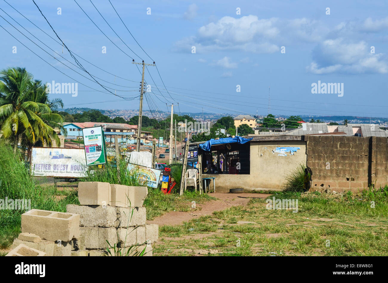 Bricks for construction at the entrance of the city of Abeokuta, Nigeria, Ogun State - Stock Image