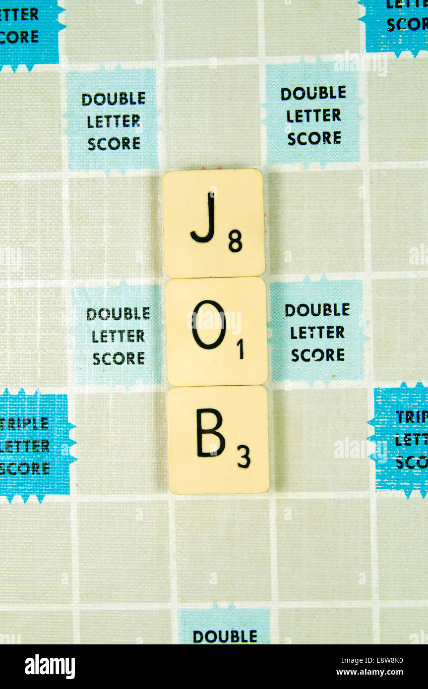 Job spelled out on Scrabble Board. - Stock Image
