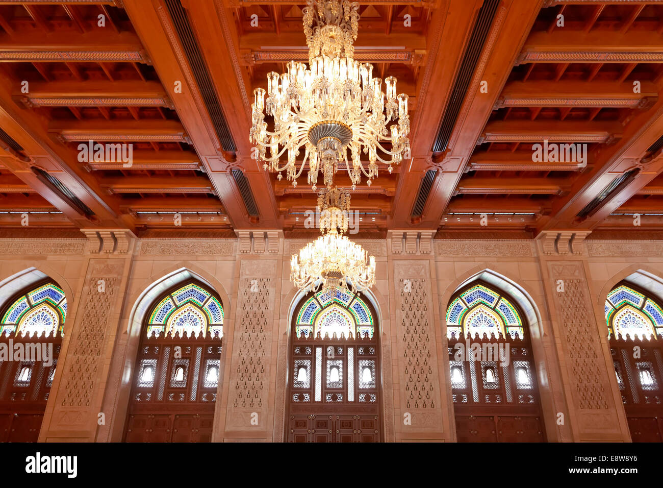 Prayer room for women with a wooden ceiling and a chandelier, Sultan Qaboos Grand Mosque, Muscat, Oman - Stock Image