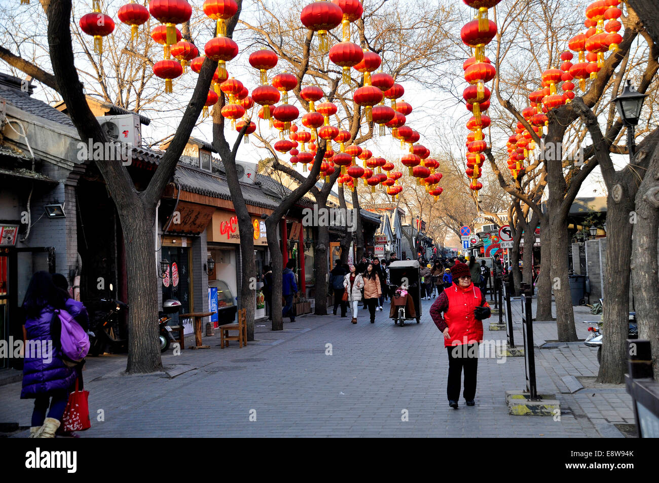 Street scene in a hutong community in the city centre, Beijing, China - Stock Image