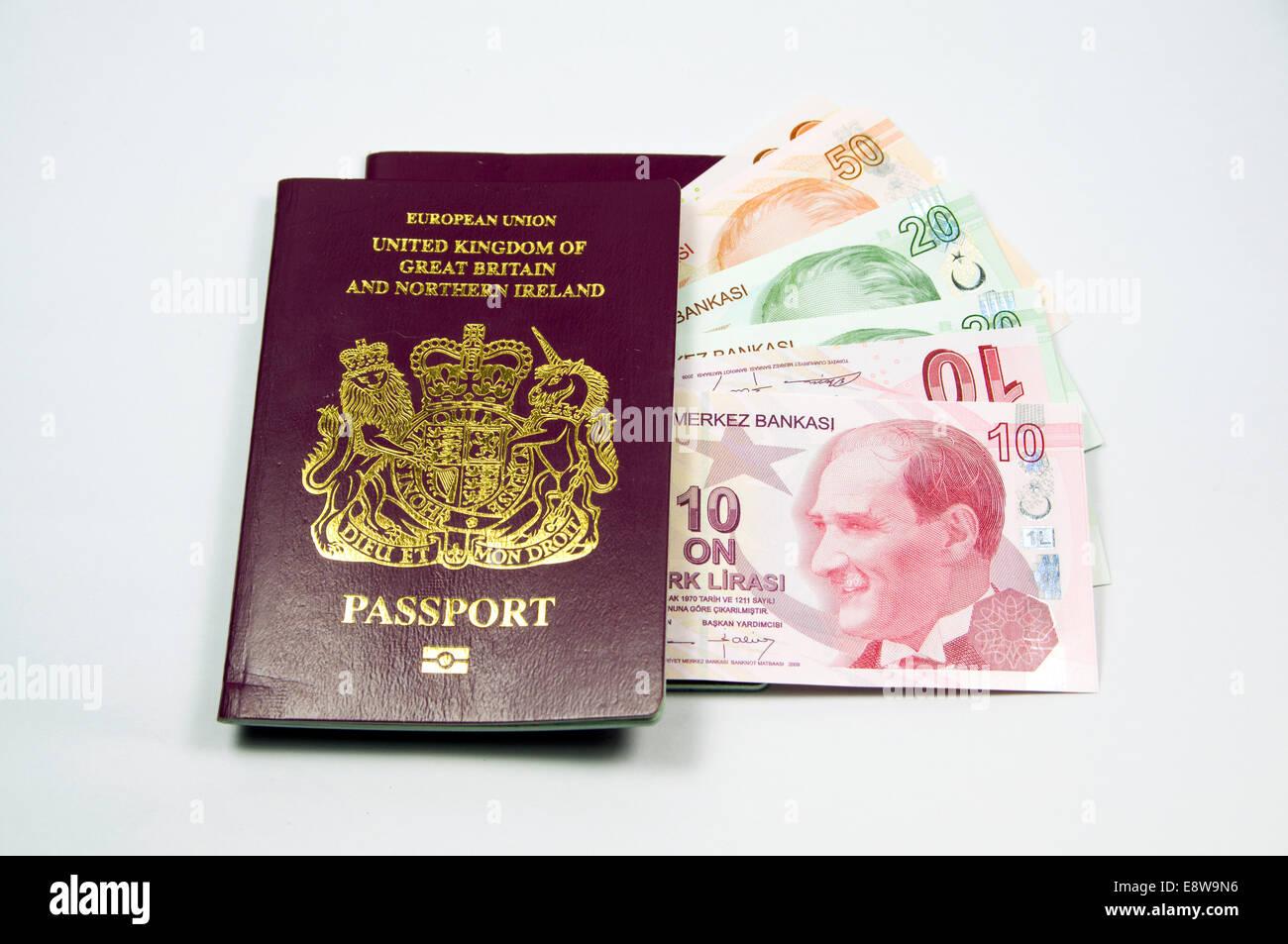 British Passport and Turkish lira notes Stock Photo