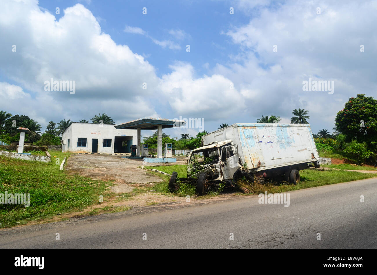 An abandoned gas station in south-west Nigeria, Ogun state, with a truck accident - Stock Image