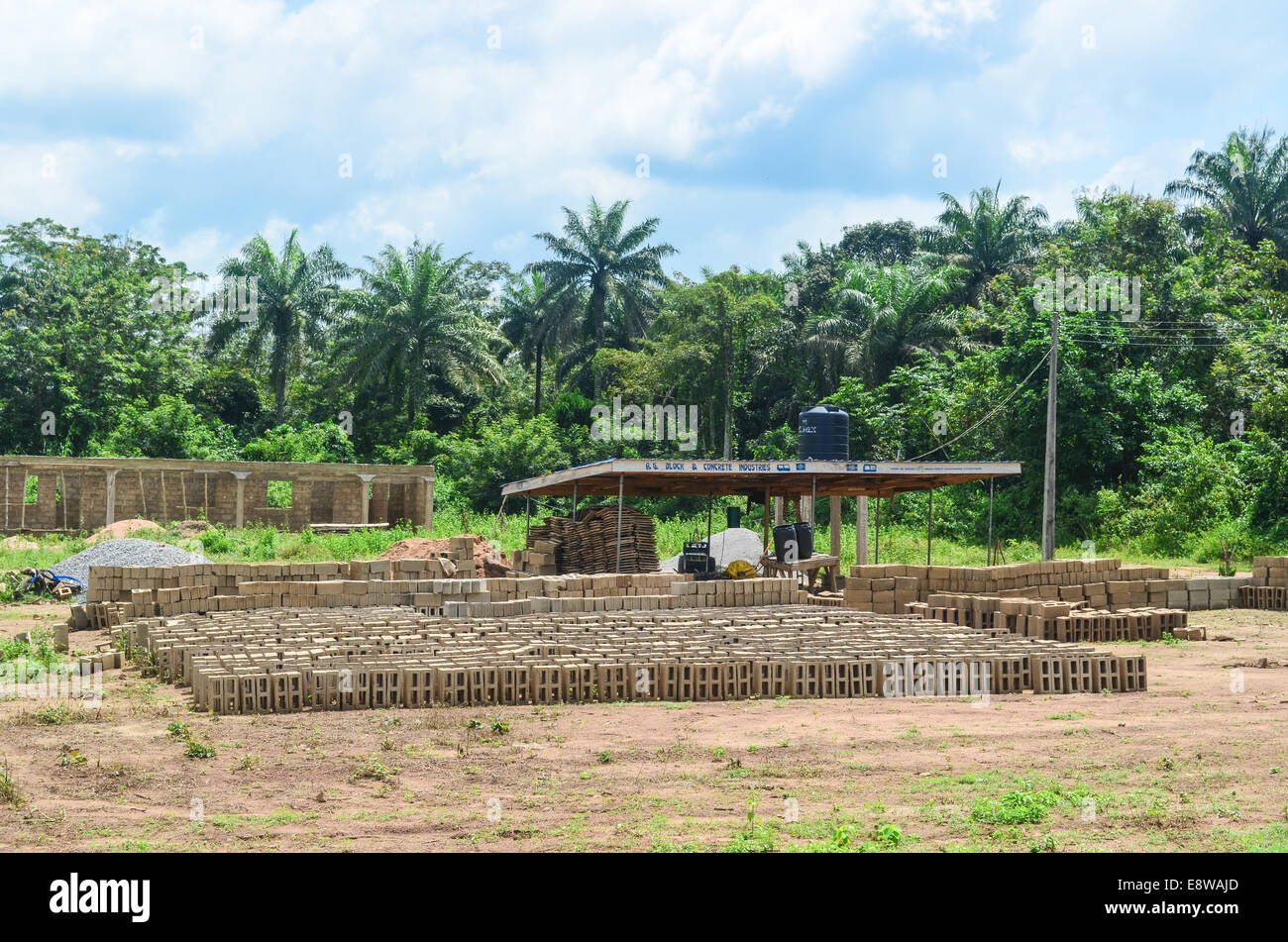 Brick making for construction in Nigeria - Stock Image