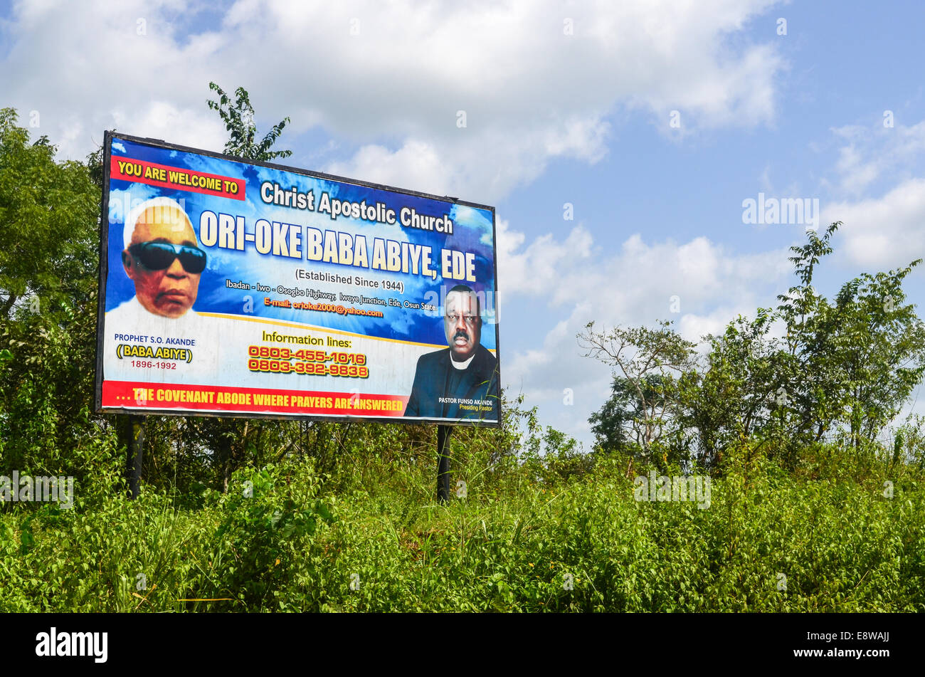 Religious sign for an apostolic church in Nigeria, by Ori-Oke Baba Abiye - Stock Image